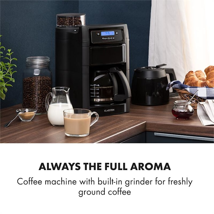 Aromatica II zestaw ekspres do kawy młynek 1,25 l czarny                             Czarny | Dzbanek szklany & termos