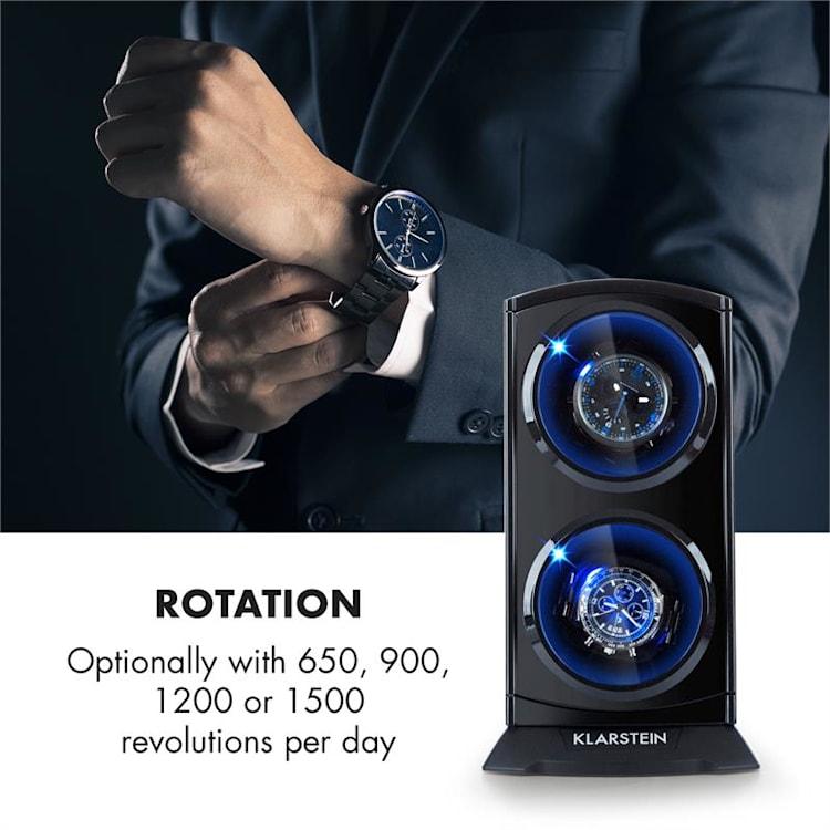 St. Gallen Premium Uhrenbeweger 2 Uhren 4 Geschwindigkeiten schwarz Schwarz, matt