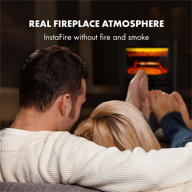 Brixen Electric Fireplace 900 / 1800W InstaFire Thermostat Black