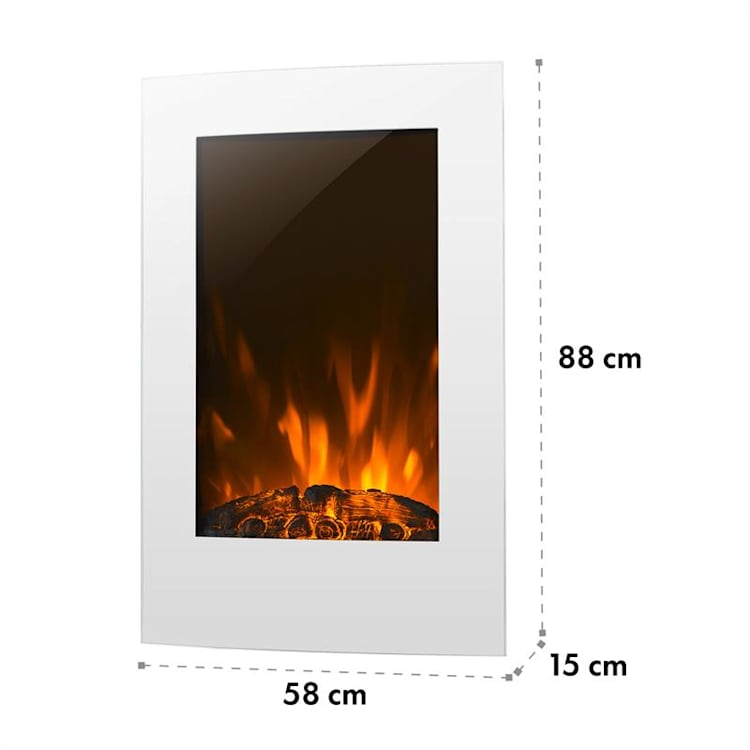 Lausanne Vertical Electric fireplace 2000W Weekly Timer White White