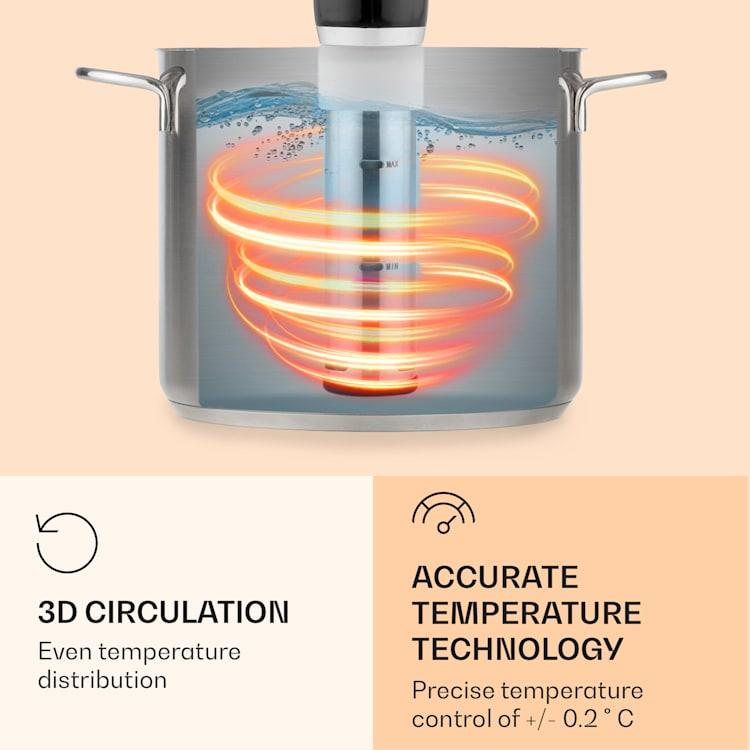 Quickstick Flex, Sous-Vide kuhalo, 1300 W, 3D cirkulacija, IPX7, timer, 0 - 95 °C, crna boja Crna