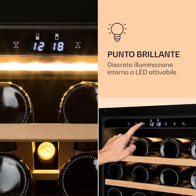 Barossa 77 Duo Cantinetta Vino 2 Zone 191 L 77 Fl. Touch LED Nero
