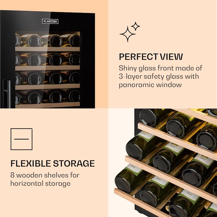 Barossa 77 Duo Cave à vin 2 zones 191L 77 bouteilles classe B - noir