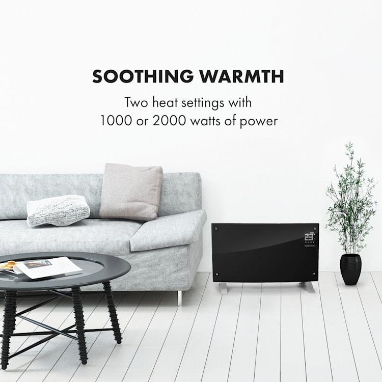 Bornholm Curved Ambient, încălzitor cu convecție, 1000/2000 W, negru Negru