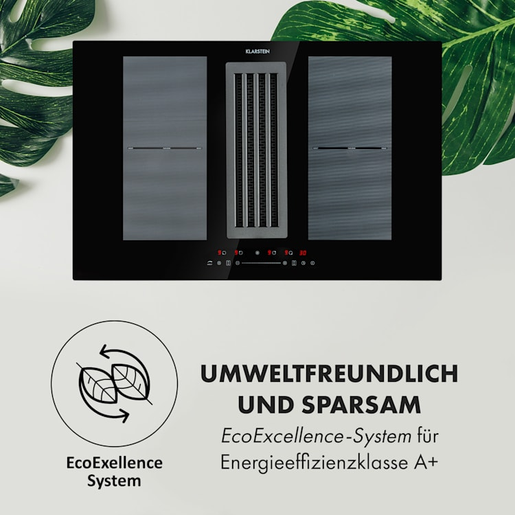 Full House Down Air System Induktionsherd + Dunstabzugshaube schwarz