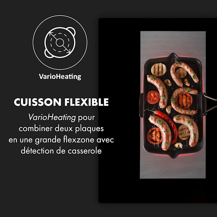 Full House Down Air System Table à induction + hotte classe A+ - noir