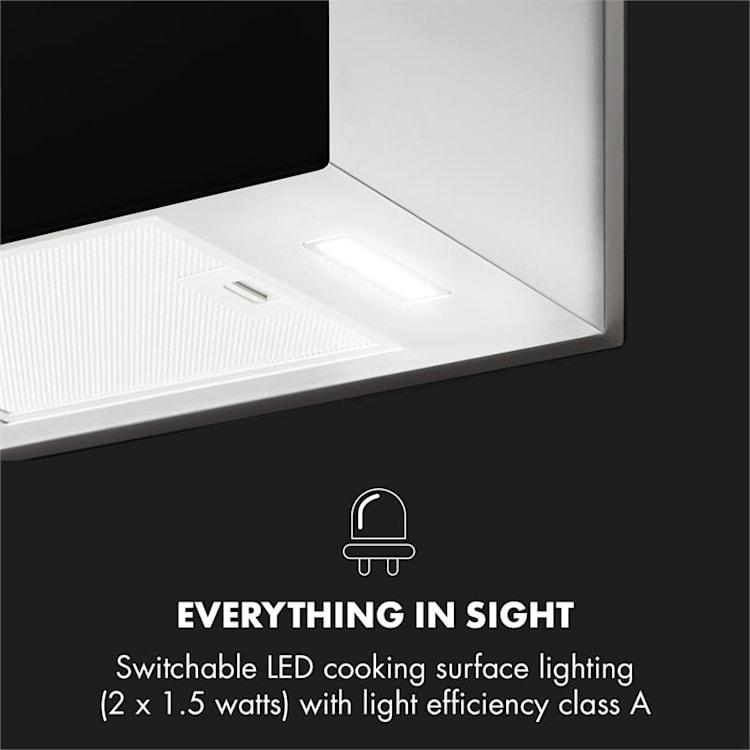 Kronleuchter L Wyspowy okap kuchenny 60 cm wydajność wyciągu powietrza: 590 m³/h LED panel dotykowy kolor czarny Czarny
