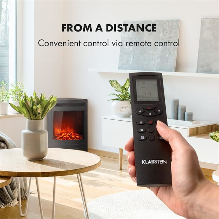 Vienna Electric Corner Fireplace 1900W Weekly Timer Remote Control Black