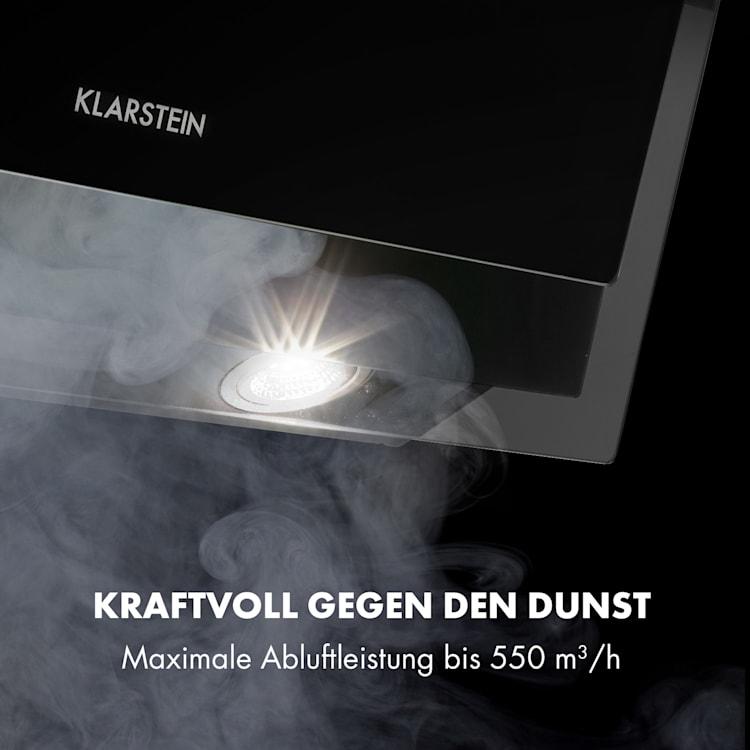Mirage 60 Dunstabzugshaube 550 m³/h Touch-Panel RGB-Ambiente-Licht A++ Glas Schwarz | 60 cm