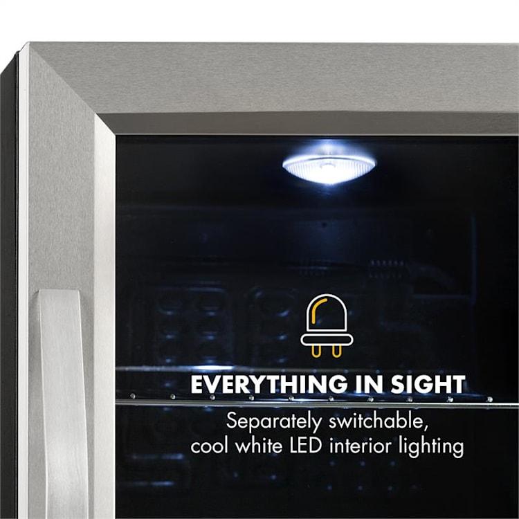 Beersafe M, lednice, A++, LED, 2 kovové rošty, sklenené dvere, čierna Stříbrná