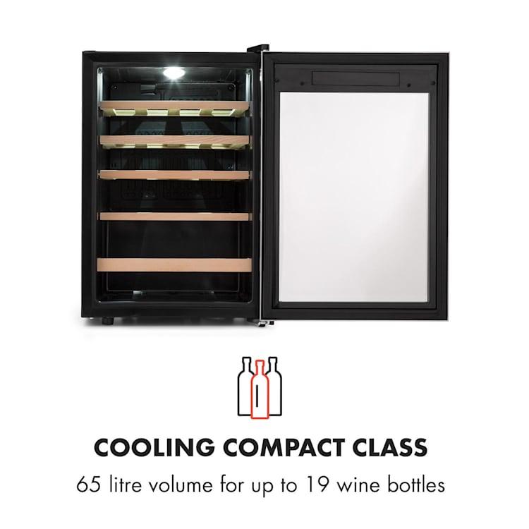 Vinamour 19, vinotéka, 19 fliaš, 65 l, 4 - 18 °C, 39 dB, sklo, čierna 19 fliaš | 1 chladiaca zóna