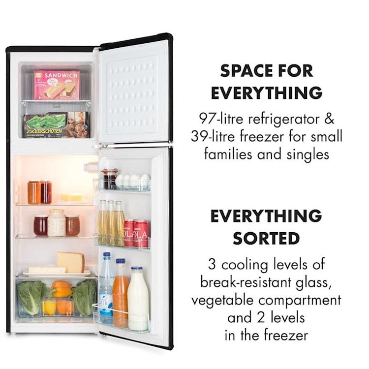 Audrey, chladnička s mrazákem, 90 l/ 39 l, retro vzhled, černá Černá