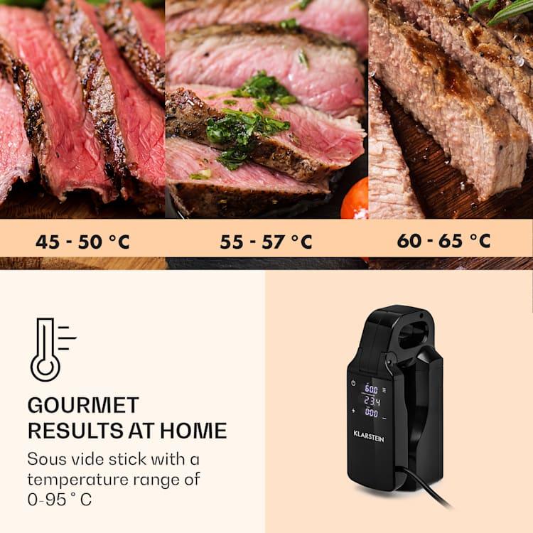 Quickstick Free, Sous Vide főző, 0 - 95 °C, LCD érintőképernyő, fekete