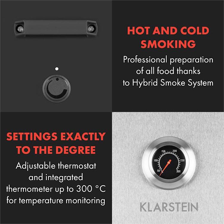 Flintstone Steel, naprava za dimljenje, peč za dimljenje, 1600 W, vgrajen termometer, nerjaveče jeklo Srebrna