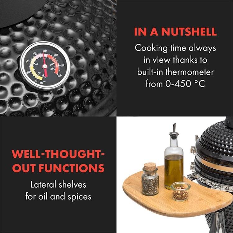 Queensize камадо, грил, термометър, свалящи се странични поставки, черен