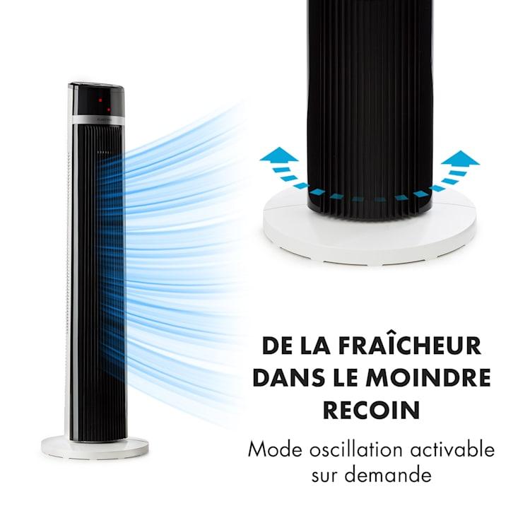 IceTower ventilateur sur pied 36 watts minuterie 3 modes télécommande blanc