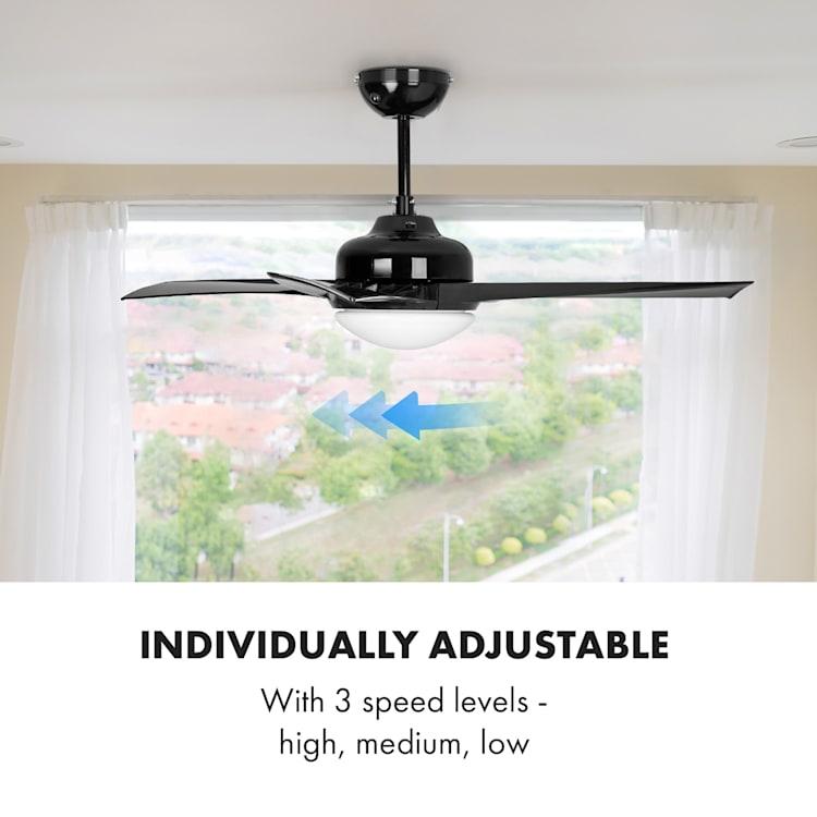 "Figo Ceiling Fan, 52""(132 cm) Ø, Power: 55 watts, Black Black"
