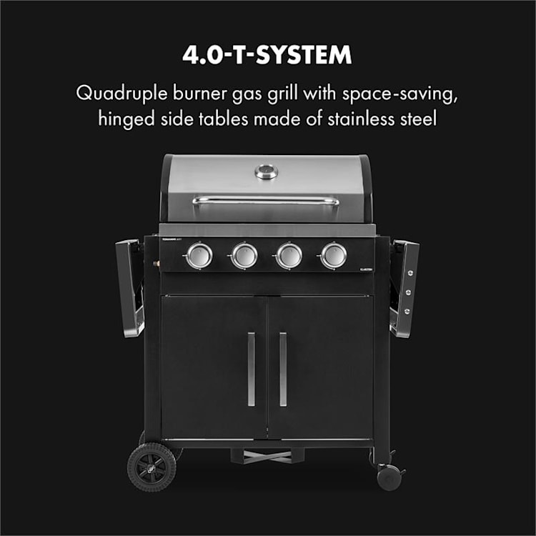 Tomahawk 4.0 T Gas Grill 4 x 3.2 kW Burner 63x39cm Grill Stainless Steel 4 burners