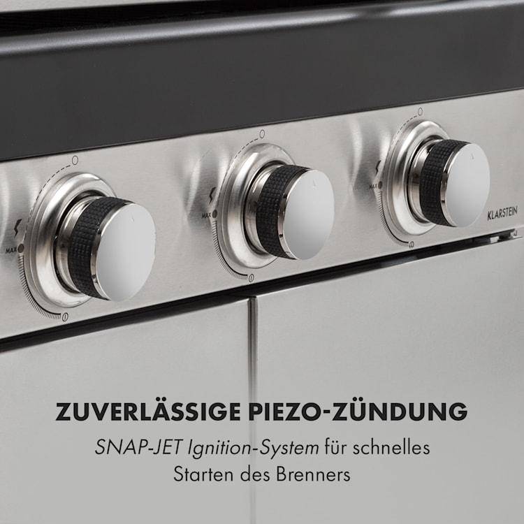 Gazooka 3.0T BBQ Grill 3x3kW Brenner 4 Rollen Edelstahl 3 Brenner
