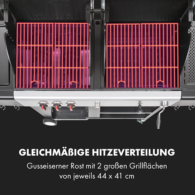 Hot & Hot Gasgrill 8,5kW 3 Brenner höhenverstellbar schwarz