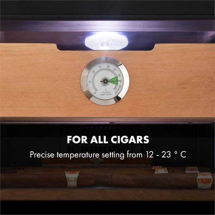 El Presidente 48 sigaren humidor 48l 4 schuifplateaus cederhout zwart Zilver   48 ltr