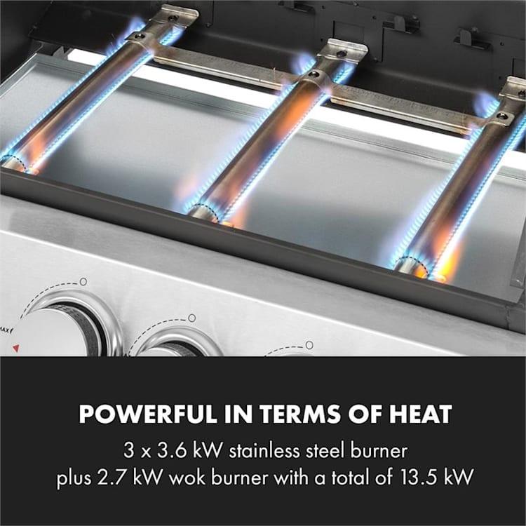 Tomahawk 3.1 S, grătar pe gaz, arzător 3 x 3,6 kW + arzător wok de 2,7 kW, grătar 60 x 45 cm, oțel inoxidabil