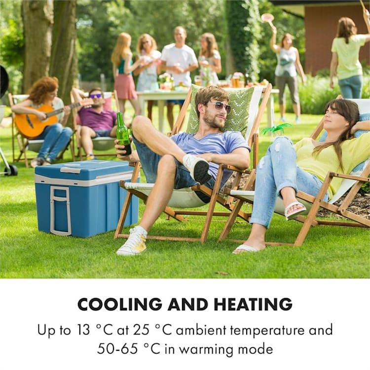 BeerPacker, termoelektrický chladící box s funkcí udržování tepla, 50 L, A+++, AC/DC, vozík. modrý Modrá