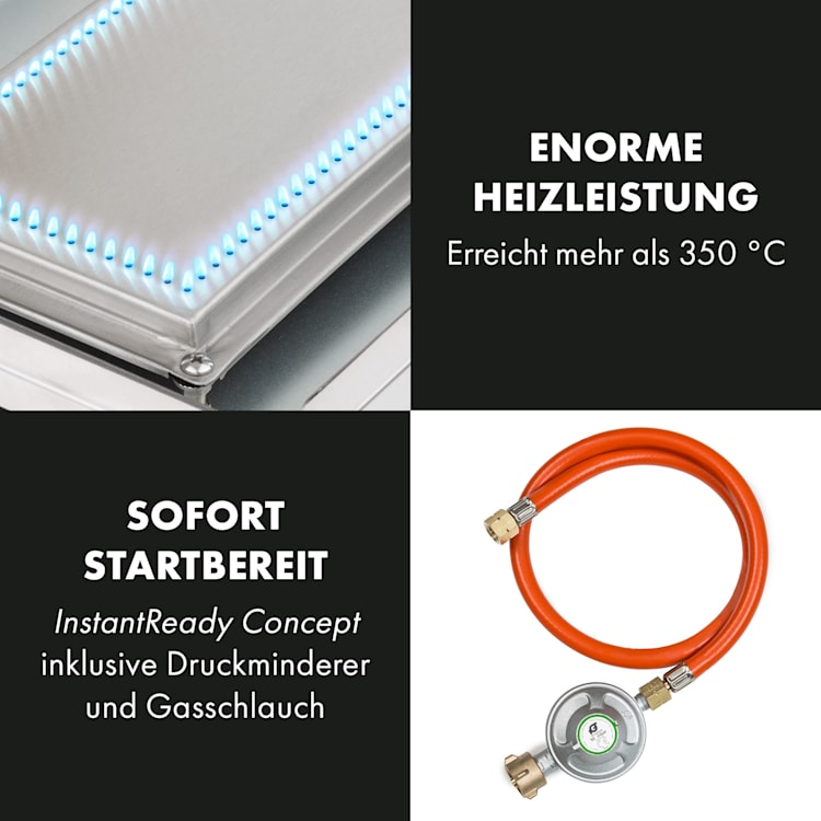 Orfeo Gas-Tischgrill 3,5kW 350°C InstantReady Concept schwarz
