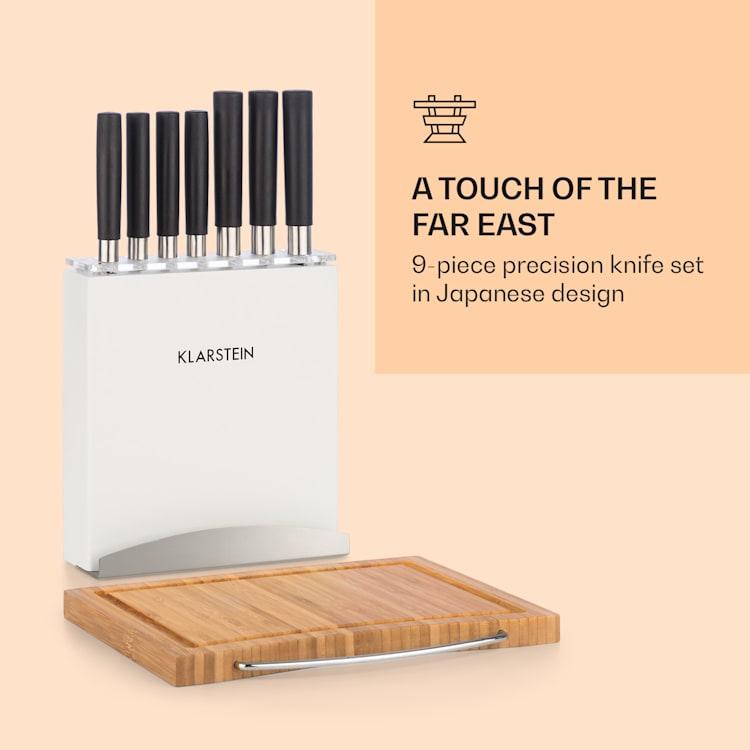 Kitano Plus, késkészlet, 9 részből álló készlet, faállvány, bambusz vágódeszka, fehér