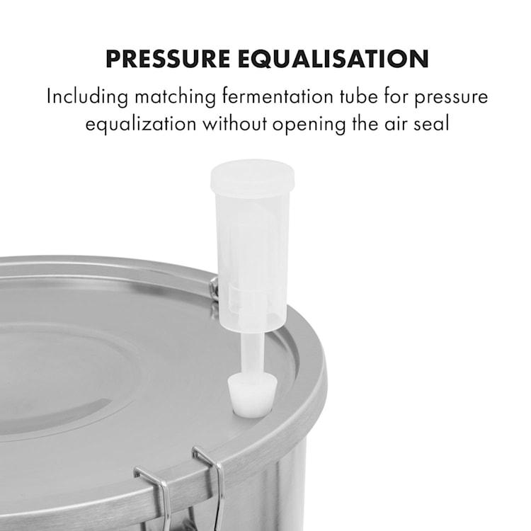 Gärkeller paiolo di fermentazione 30 l tubicino di fermentazione termometro acciaio inox 304 Senza valvola di sfogo per lievito