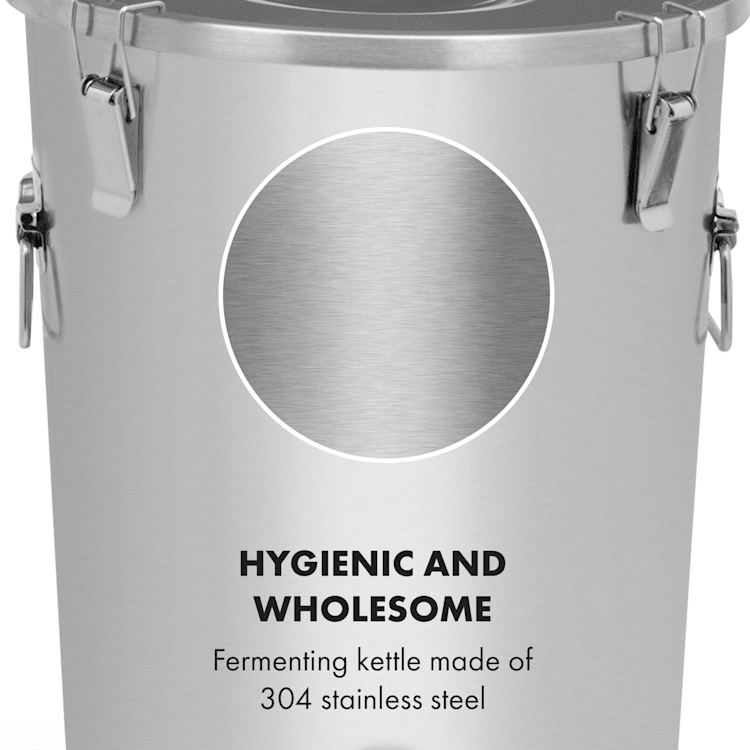 Gärkeller Pro -käymiskattila 30 litraa hiivanpoistoventtiili ruostumaton 304-laatuinen teräs hiivanpoistoventtiilillä