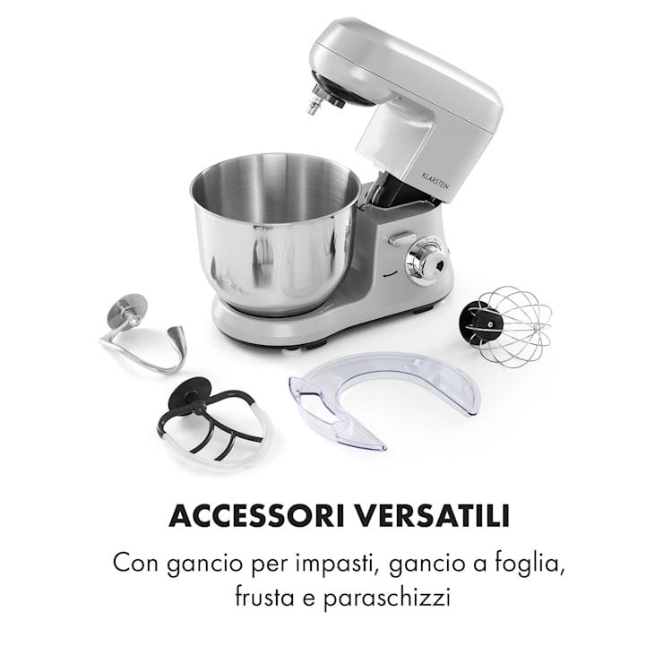 Bella Robusta Metal Robot da Cucina 1.200 W 6 Livelli 5,5 litri grigio Grigio