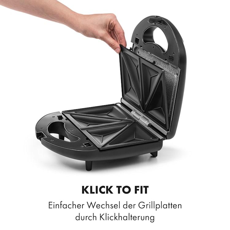 Trilit 3-in-1 Sandwich Maker 750W 3 Grillplatten LED Anti-Haft schwarz Schwarz