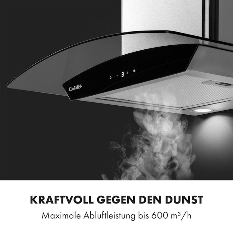 Eclipse Dunstabzugshaube 600 m³/h 3 Leistungsstufen Edelstahl schwarz