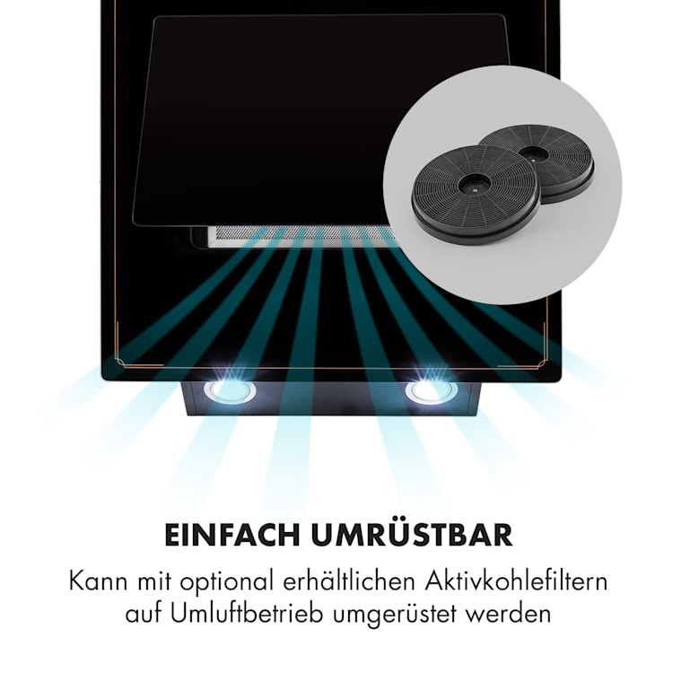 DeLorean 60 Dunstabzugshaube 625 m³/h Touch-Panel Retro schwarz 60 cm