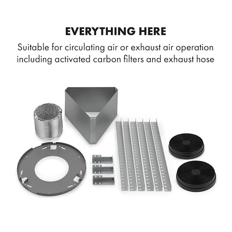 Beretta, otočna napa, Ø49,5cm, recirkulacija, 650m³/h, LED, nerjaveče jeklo Srebrna