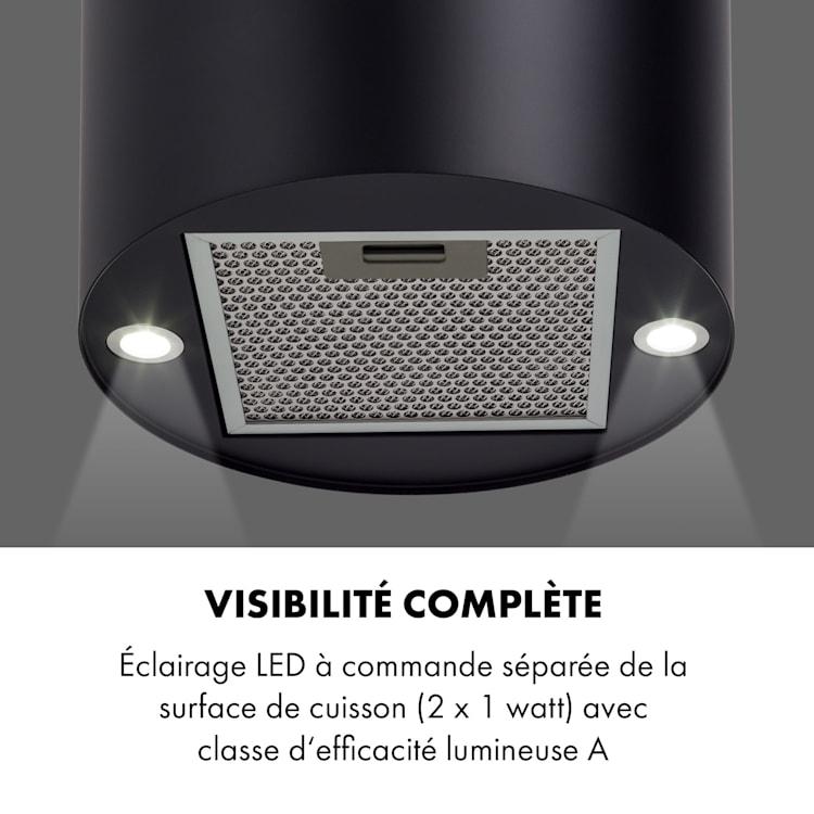 Klarstein Beretta Hotte îlot 650m³/h 3 vitesses filtres inclus classe C - Noir Noir Mat