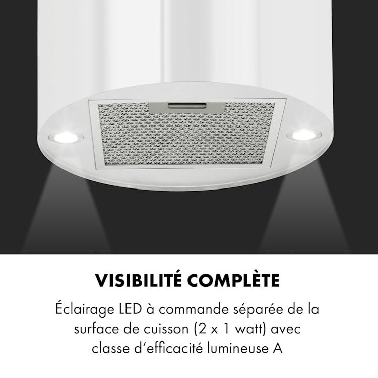 Beretta Hotte îlot 650m³/h 3 vitesses Filtres inclus Classe C - Blanc Blanc