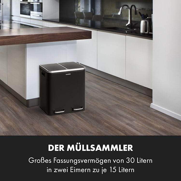 Trash Gordon Treteimer 30L / 2x15L geräuschlos PP Edelstahl schwarz Schwarz