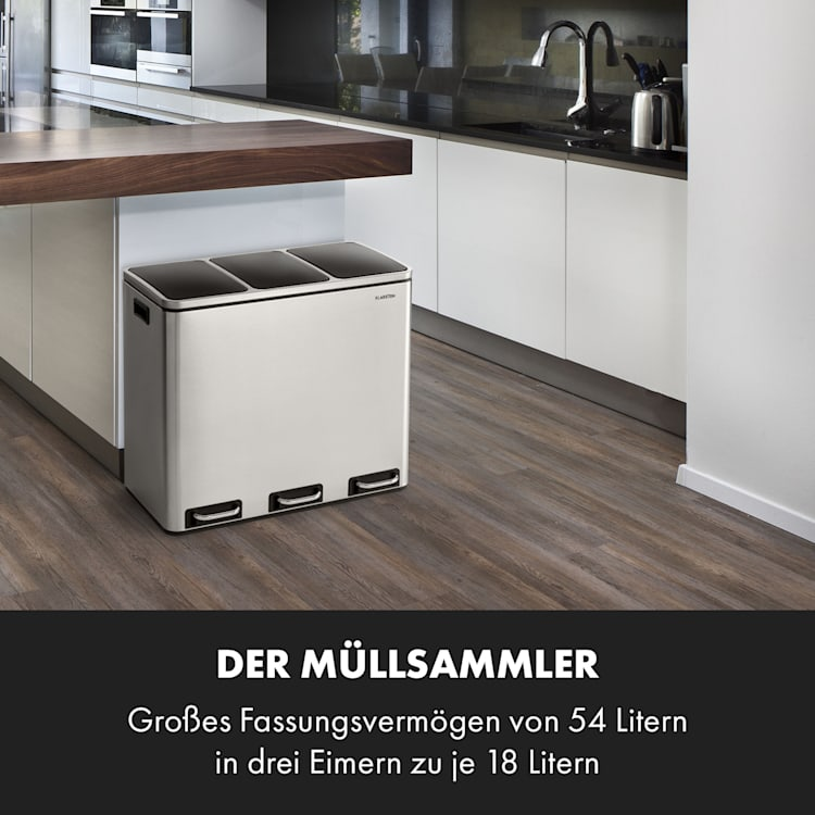 Grandmaster Trash Treteimer 54l / 3x18L geräuschlos PP Edelstahl