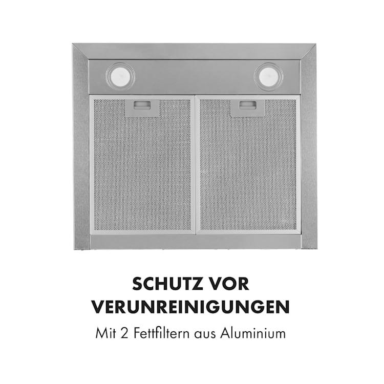 Sabrina Dunstabzugshaube 575 m3/h 3 Leistungsstufen EEK A Edelstahl gebürstet Silber   60 cm
