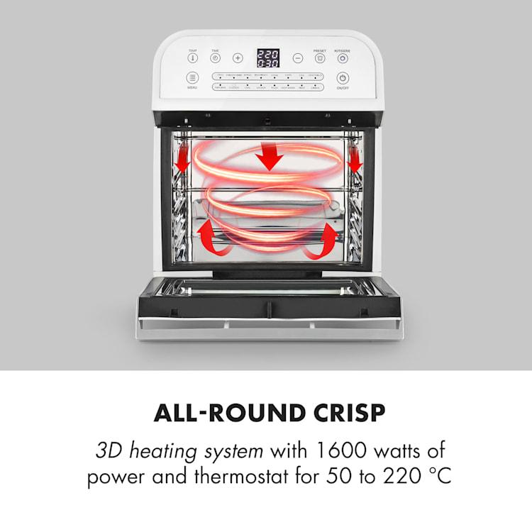 AeroVital Cube Hot Air Fryer 1600W 12l Timer 16 Programs White White