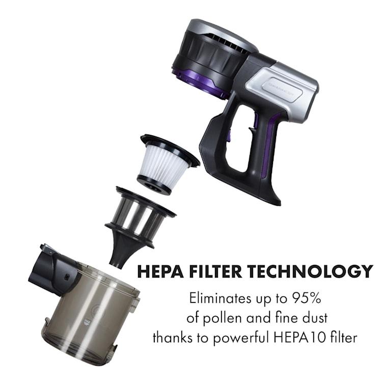 Clean Butler 4G Silent Akku-Staubsauger 16 kPa 0,8l HEPA10 violett Anthrazit / violett