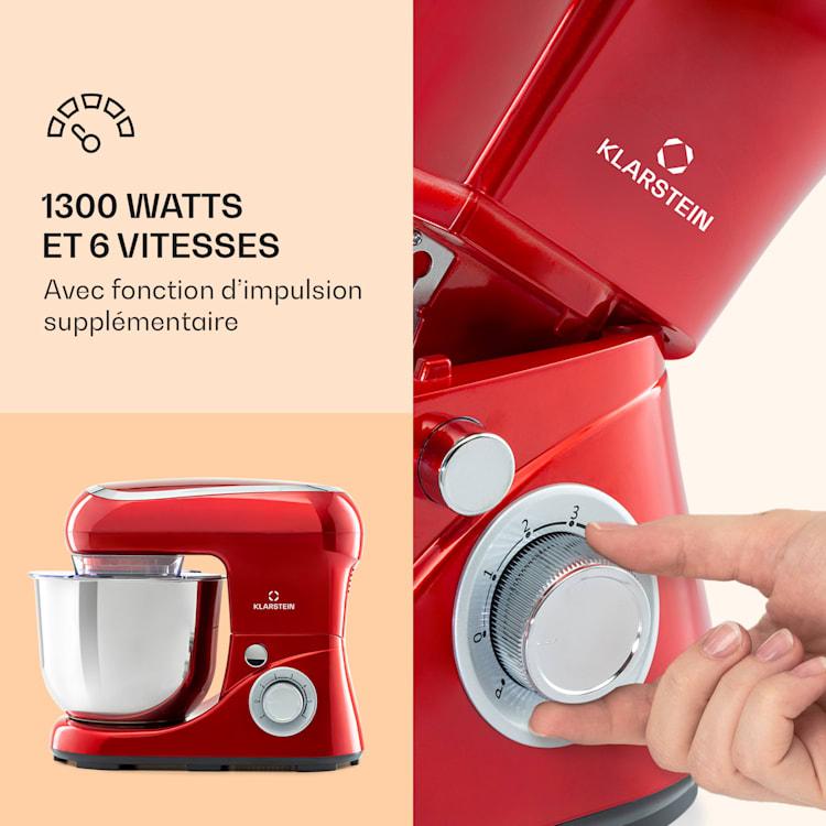 Bella Pico 2G Robot de cuisine 5 litres 6 vitesses  1200W - rouge Rouge