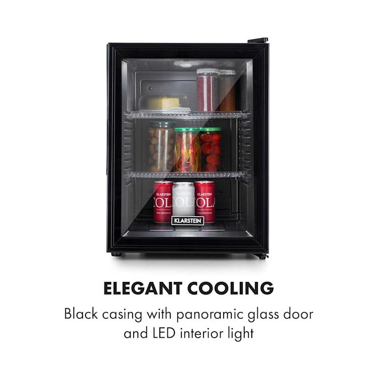 Brooklyn 42, lodówka, klasa efektywności energetycznej A, drzwi szklane, czarne wnętrze, kolor czarny Czarny | 42 Ltr