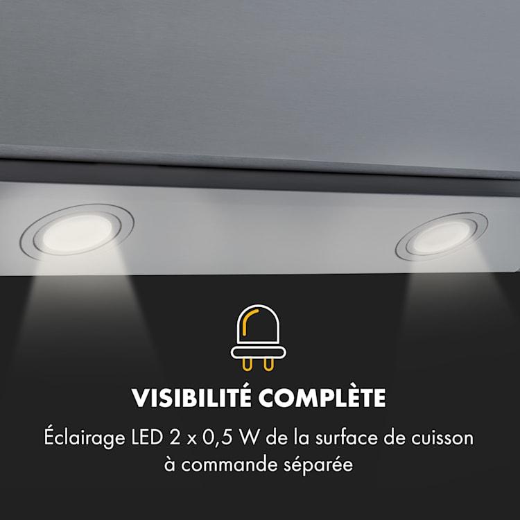 Zola 60 hotte aspirante sans tête 60 cm 190 W 607 m³/h LED acier inoxydable/verre  Argent | 60 cm