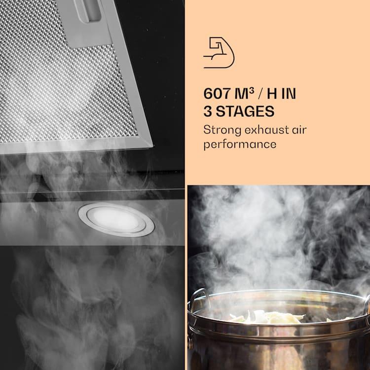Zola 60 hotte aspirante sans tête 60 cm 190 W 607 m³/h LED acier inoxydable/verre  Noir   60 cm