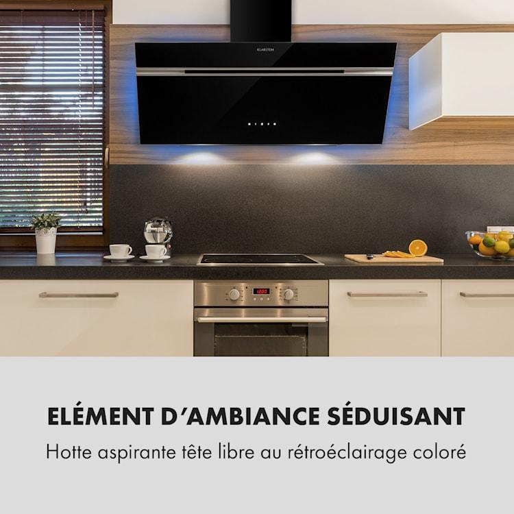 Alina Hotte aspirante murale 90cm 600m³/h  LED Classe A - Noire Noir   90 cm