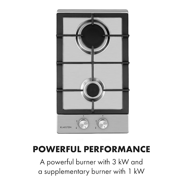 Ignito Domino Gas Hob 2 Sabaf Burners Stainless Steel Silver Silver   2 burners