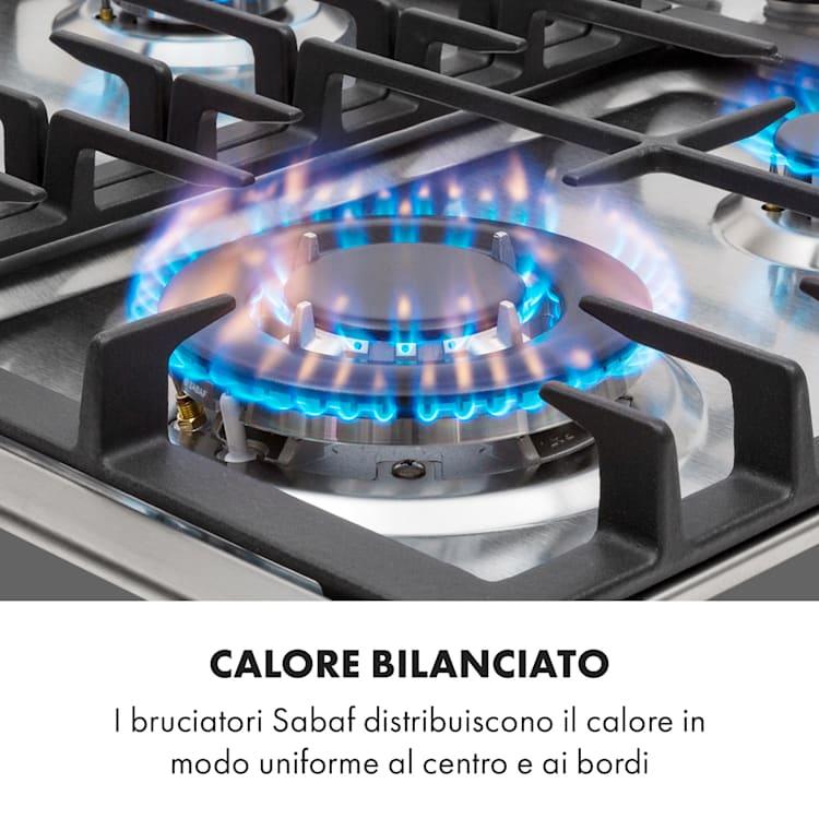Ignito 4 Zone Fornello A Gas a Bruciatori Sabaf 4 Fiamme Inox argento Argento | 4 bruciatori